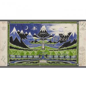 Maquette de la jaquette pour le Hobbit 1937 - ©Bodleian Library / The Tolkien Estate Limited