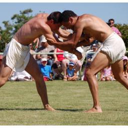 Démonstration de sports anciens à l'Archéosite de la Haute-Île