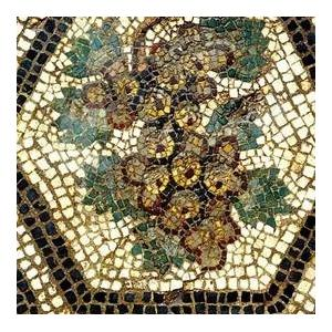 Mosaïque gallo-romaine, grappe de raisin