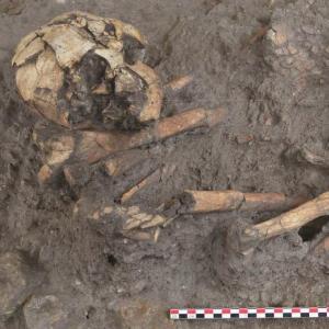 Atelier de fouille d'une sépulture à l'archéosite de la Haute-Ile